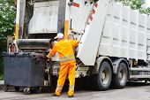 Worker of urban municipal recycling garbage collector truck loading waste and trash bin poster
