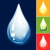 Set Of Colored Drops Water And Oil editable vector illustration poster