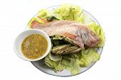 Spicy steamed fish and vegetable,Thai food style poster