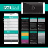 Flat Mobile Web UI Concept for mobile or tablet web applications / EPS10 Vector Illustration / poster
