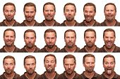 A middle aged man in his early forties posing for 16 different facial expressions. poster