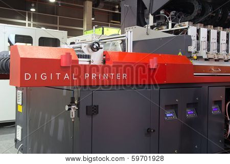 VALENCIA, SPAIN - FEBRUARY 11, 2014: An industrial digital printer on display at the 2014 Feria Habitat Valencia Trade Fair.