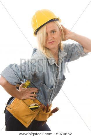 Attractive Woman Contractor With Tools And Hard Hat Helmet