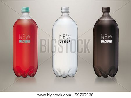 Two liter transparent plastic bottle for new design. Sketch style