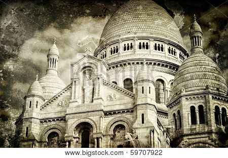 Aged vintage retro picture of Sacre Coeur Cathedral in Paris