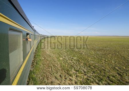 Trans Mongolian Train across the mongolian steppe, Mongolia