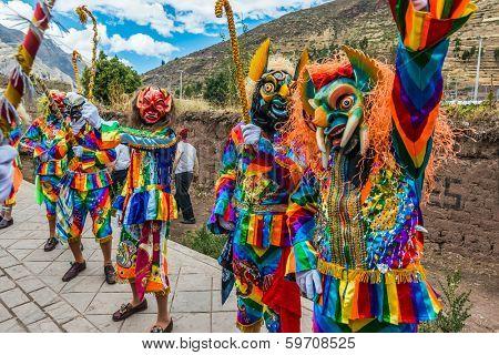 PISAC, PERU - JULY 16, 2013: dancers at Virgen del Carmen parade in the peruvian Andes