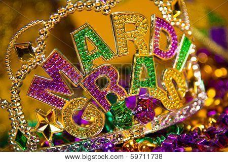 colorful Mardi Gras crown decoration poster