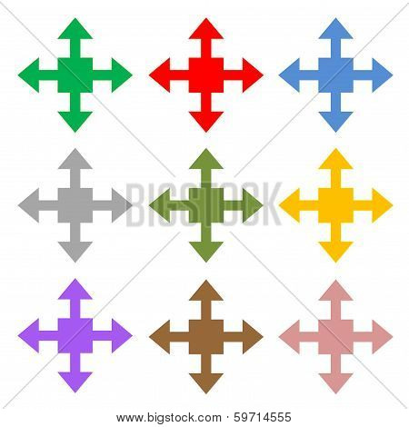 Colorful set of four arrows showing different directions in white background poster