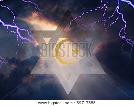 Star of David and Muslim Cresent