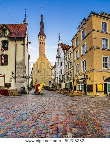 Tallinn, Estonia old city at old town hall.