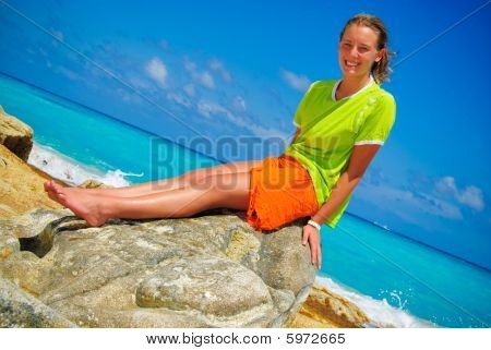 Girl on rock