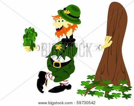 Leprechaun Leaning Holding Shamrocks