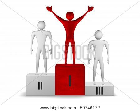 Red Winner And Gray Prizetakers On Podium. Front View