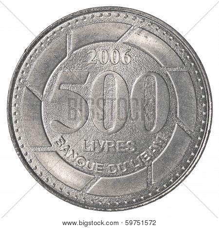 500 Lebanese pound coin isolated on white background - set poster