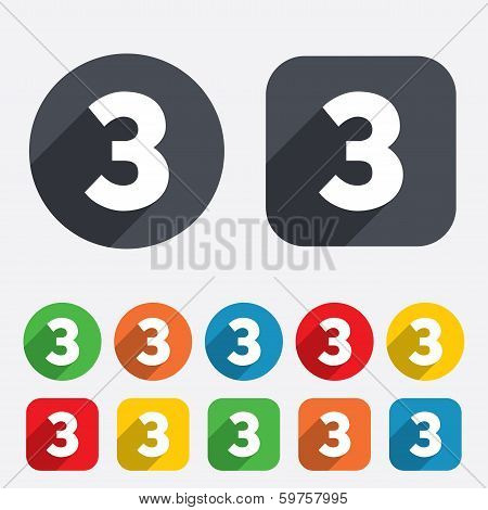 Third place award sign. Winner symbol. Step three. Circles and rounded squares 12 buttons. Vector poster