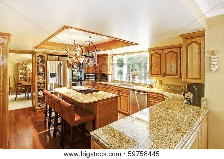Bright elegant kitchen room