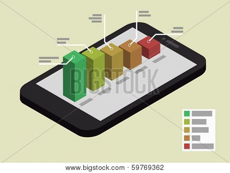 illustration of a smartphone in isometric view with different colored graphs, eps10 vector