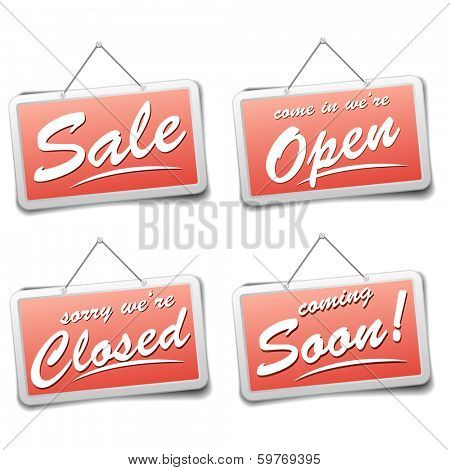 detailed illustration of red shop sign with information, eps10 vector