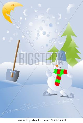 Christmas and New Year illustration with snowman