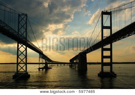 Chesapeake Bay Bridges From A Cruise Ship Deck