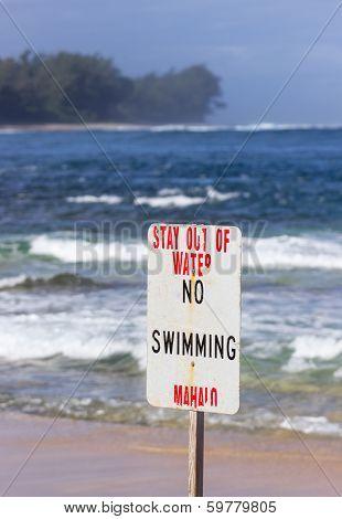 No Swimming Danger Sign Tunnels Beach