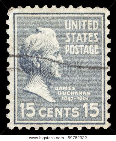 USA-CIRCA 1938: A postage stamp shows image portrait of James Buchanan the 15th President of the United States of America, circa 1938.