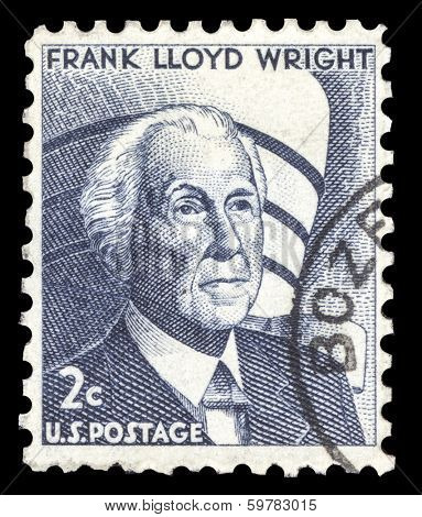 USA-CIRCA 1966: A postage stamp shows image portrait of Frank Lloyd Wright A famous American Architect, circa 1966.