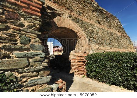 A small gate at the fortification of Thessaloniki, Greece