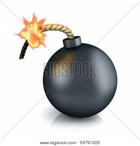 Old bomb on white background (done in 3d) poster