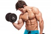 Muscular bodybuilder guy doing exercises with dumbbells isolated over white background poster