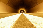 mystical tunnel with strange lights and emptiness poster