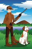 A vector illustration of duck hunter with his dog poster