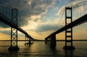 Maryland's Chesapeake Bay Bridges as sunset approaches poster