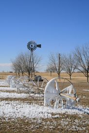 Frozen farm sprinkler