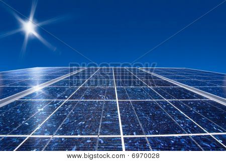 Solar panel and sun with blue sky