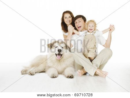 Family And Dog, Happy Smiling Father Mother And Laughting Baby Child Isolated Over White Background