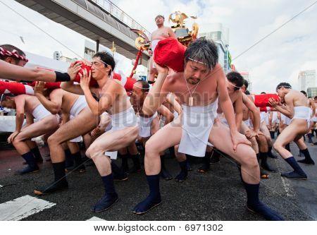 Japanese Ogion festival participants