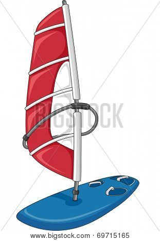 Illustration Featuring a Red and Blue Sailboard