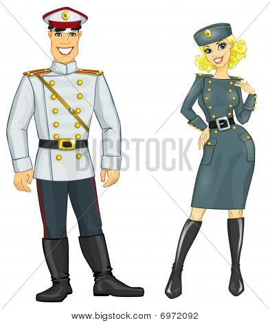 Handsome man and pretty woman in military uniform, isolated on white background. poster