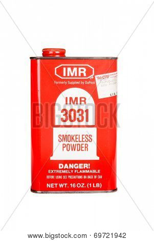 Hayward, CA - August 7, 2014:  1Lb can of IMR 3031 Smokeless Powder gunpowder