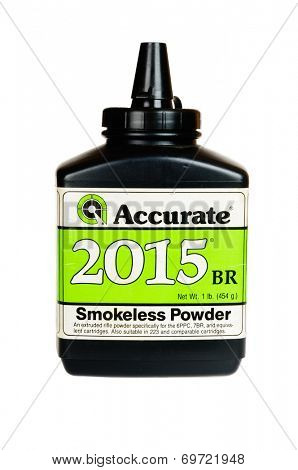 Hayward, CA - August 7, 2014: 1Lb container of Accurate 2015BR smokeless gunpowder