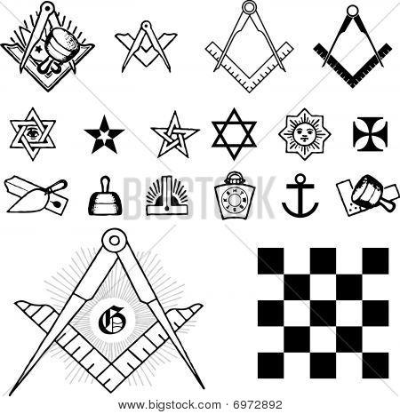 Set of symbol freemason masonic mason