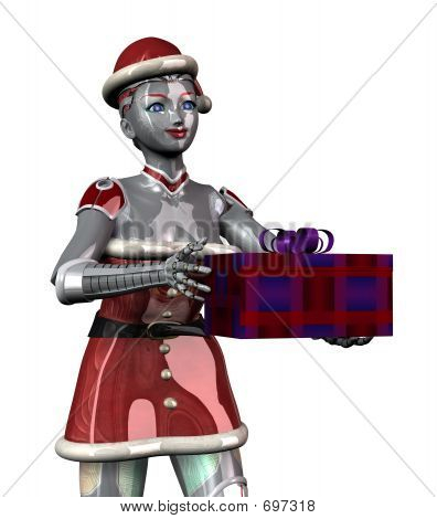 Christmas Robot With Gift - Close Cropped