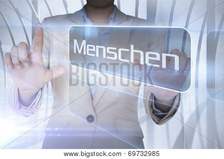 Businessman presenting the word people in german against white room with large window overlooking city