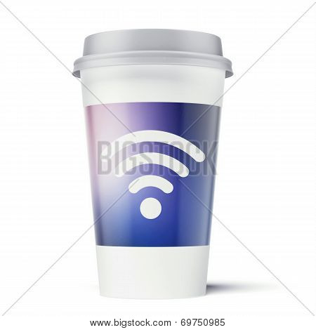 Paper cup with wi-fi symbol