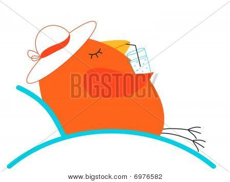 Bird relaxing in a chair with a drink poster