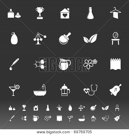 Spa Treatment Icons On Gray Background