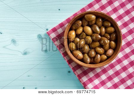 Small Bowl Of Organic Olives