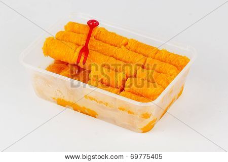 "Delicious thai dessert in Plastic box call it ""Foi Thong"" poster"